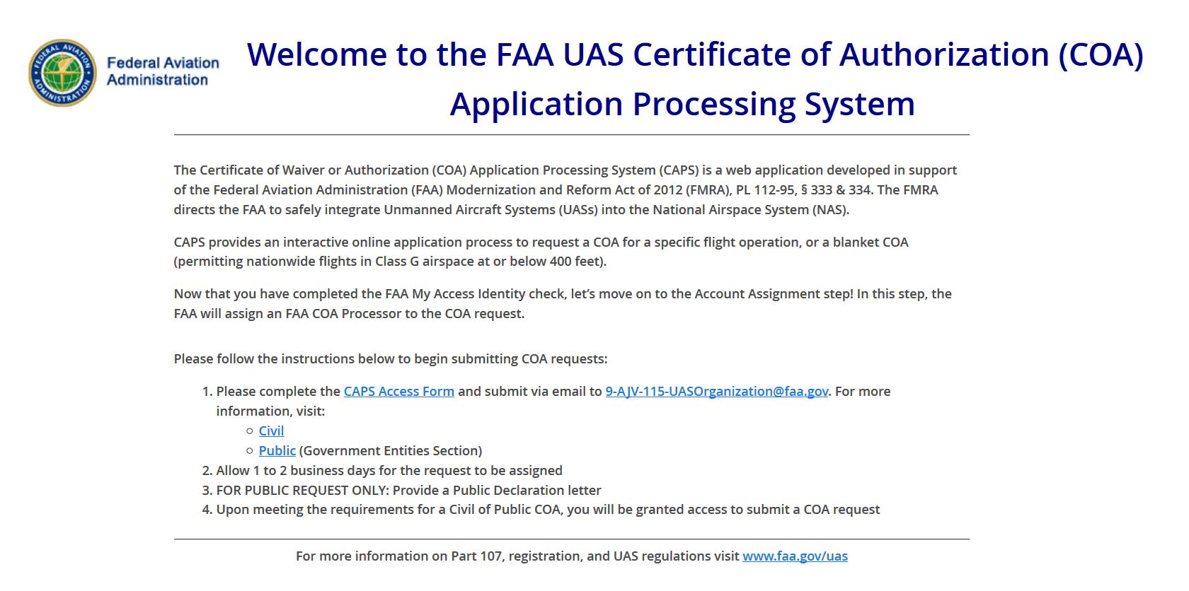 Faa Changes Coa Web Site Update The Drone Professor